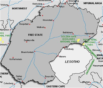 About South Africa Free State Map